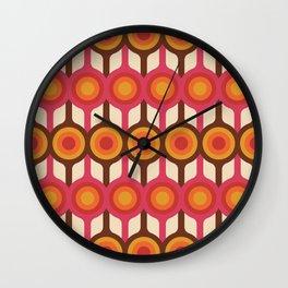 Magenta, Orange, Ivory & Brown Retro 1960s Circle Pattern Wall Clock