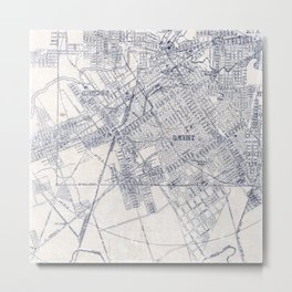 Inky Map Vintage Graphic Blue on White Metal Print