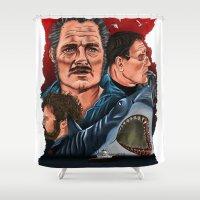 jaws Shower Curtains featuring JAWS by David Amblard