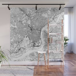 Philadelphia White Map Wall Mural