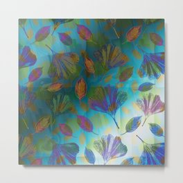 Ginkgo Leaves Under Water Metal Print