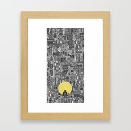 space city sun bw Framed Art Print