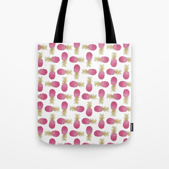 Ombre Pink Pineapple Tote Bag