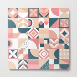 Lovely Geometric Shapes Abstract art in pastel and blue pattern Metal Print