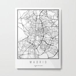 Madrid Spain Street Map Metal Print