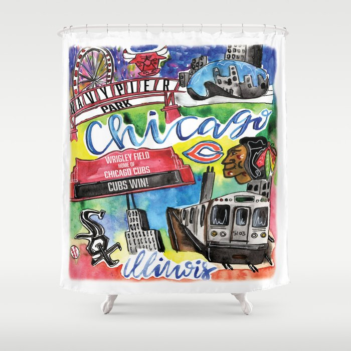 Chicago Watercolor Collage Shower Curtain By Emilylind Society6
