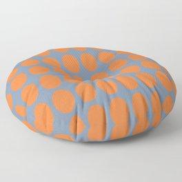 Orange Oval Shape on Blue Gray Floor Pillow
