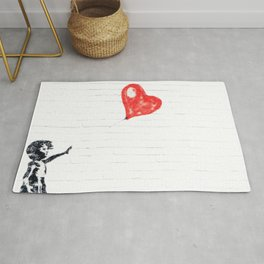 Girl with Red Balloon Rug