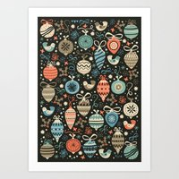 folk Art Prints featuring Festive Folk Charms by Poppy & Red