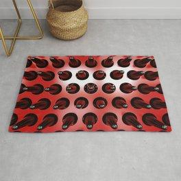Black On Red Latex Spikes Rug