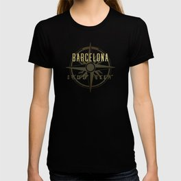 Barcelona - Vintage Map and Location T-shirt