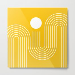 Geometric Lines in Mustard Yellow (Sunrise over the sea) Metal Print