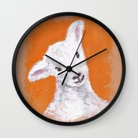 sheep Wall Clocks featuring Sheep by KeithKarloff