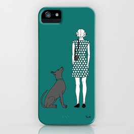 Photographer girl and dog iPhone Case
