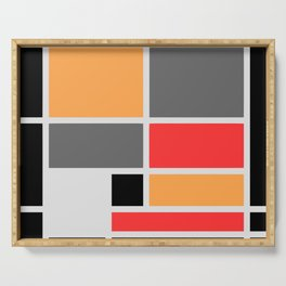 Mondrianista orange red black and gray Serving Tray