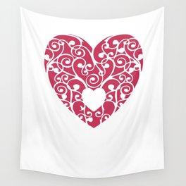 A pink Heart Wall Tapestry