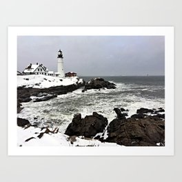 Blizzard at Portland Head Light in Cape Elizabeth, Maine Art Print