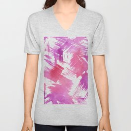 Hand painted pink purple watercolor brushstrokes pattern Unisex V-Neck