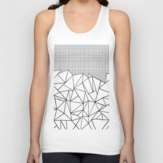 Abstract Outline Grid Black on White Unisex Tank Top