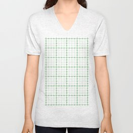 Dotted Grid Weave Green Unisex V-Neck