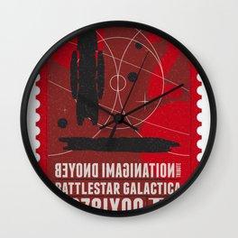 Beyond imagination: Battlestar Galactica postage stamp  Wall Clock