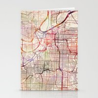 kansas city Stationery Cards featuring Kansas City by MapMapMaps.Watercolors