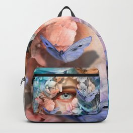 """Waiting for spring among blue flowers"" Backpack"
