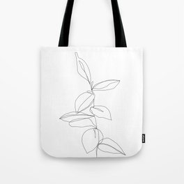 cad73a73f2 One line minimal plant leaves drawing - Berry Tote Bag