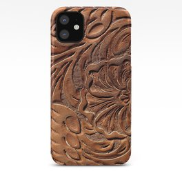 Vintage Worn Tooled Leather iPhone Case