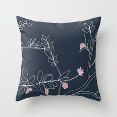 Flora, White and Pink on Navy Blue Throw Pillow