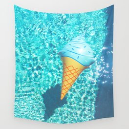 blue ice cream cone float all up in my pool yo Wall Tapestry