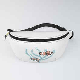 Cute sea life in coral reef cartoon illustration motif set. Fanny Pack