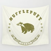 hufflepuff Wall Tapestries featuring Hufflepuff House by Shelby Ticsay