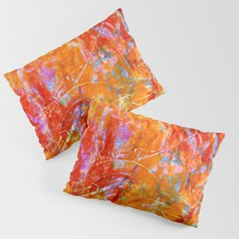 Abstract with Circle in Gold, Red, and Blue Pillow Sham