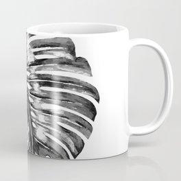 Monstera leaf black watercolor illustration Coffee Mug