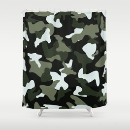 Green White camo camouflage army pattern Shower Curtain