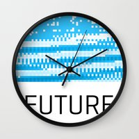 future Wall Clocks featuring Future by Blank & Vøid