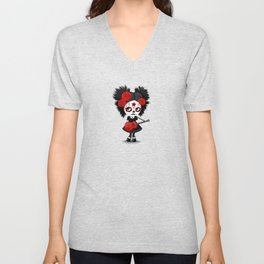 Red and Yellow Big Eyes Sugar Skull Girl Playing the Guitar Unisex V-Neck