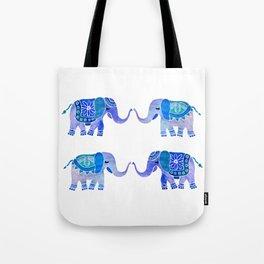 HAPPY ELEPHANTS - WATERCOLOR BLUE PALETTE Tote Bag