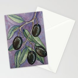 Greek olive branch in watercolor Stationery Cards
