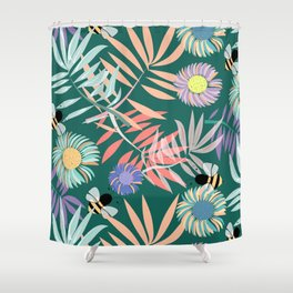 Gerbera, Palms and Bees Shower Curtain