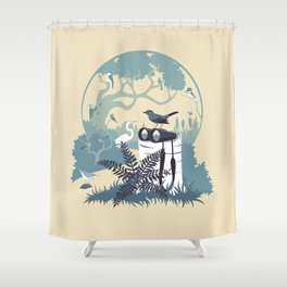 Birdwatcher (blues) Shower Curtain