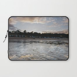 Sunset sky and beach huts reflected in a water at low tide. Wells-next-the-sea, Norfolk, UK. Laptop Sleeve