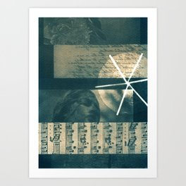 Fragments of Poetry: notes, statue, peom and flower. collage, blue print, cyanotype print, wall art Art Print