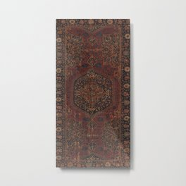 Boho Chic Dark I // 17th Century Colorful Medallion Red Blue Green Brown Ornate Accent Rug Pattern Metal Print