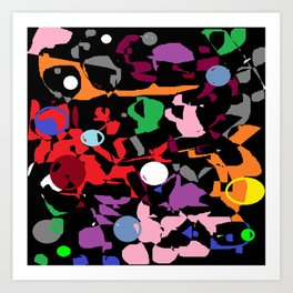 Black Multi Color Paint Splash Art Print