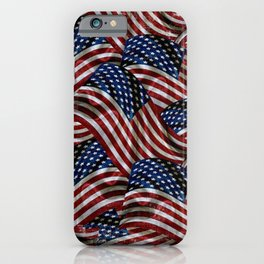 Rustic American Flags iPhone Case