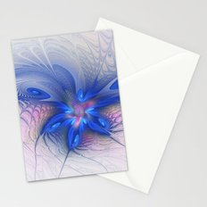 Fantasy With Blue, Abstract Fractal Art Stationery Cards