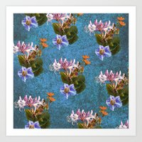 Blue garden pattern Art Print