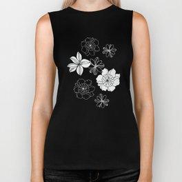 Black and white flowers Biker Tank